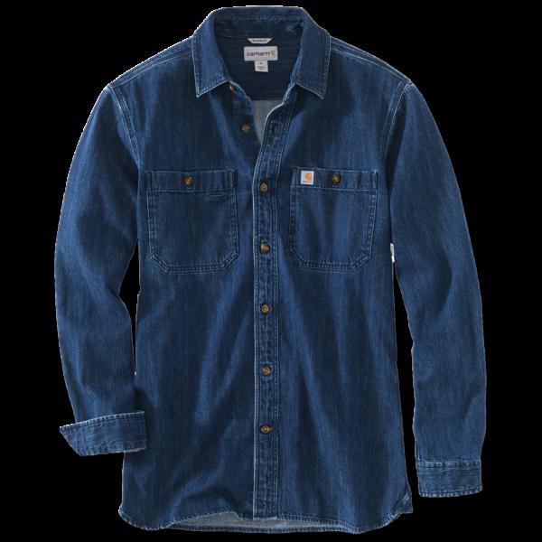 Carhartt - Denim Skjorte Langærmet Herre, 100% bomuld